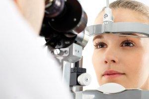 young woman undergoing LASIK procedure